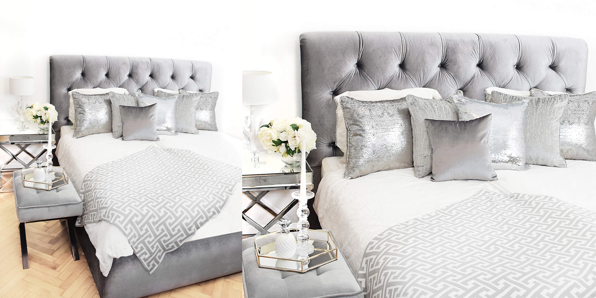Schlafzimmer in Silbertönen