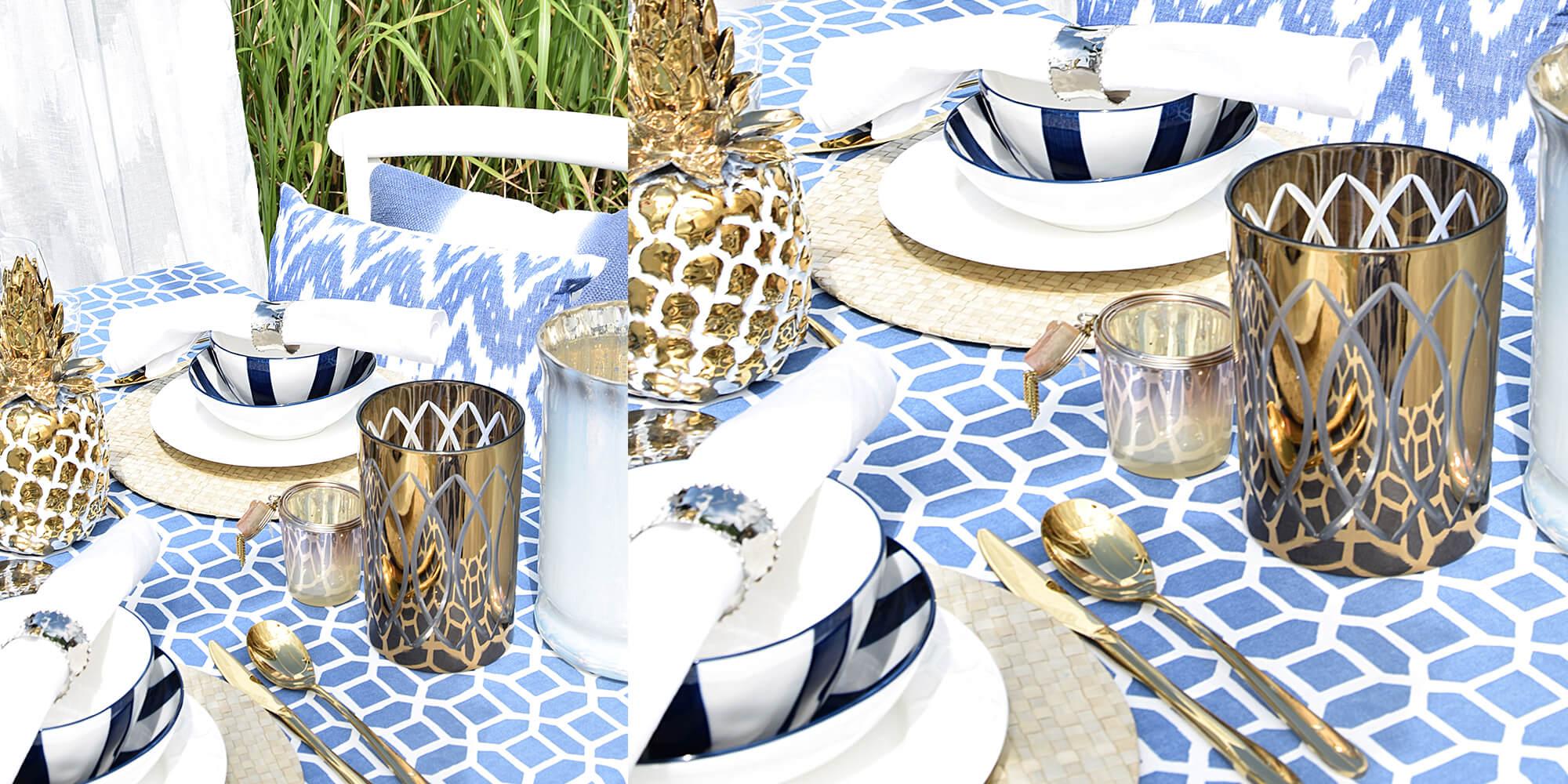 Mykonos-Style: Farbkombi Weiß-Gold-Blau