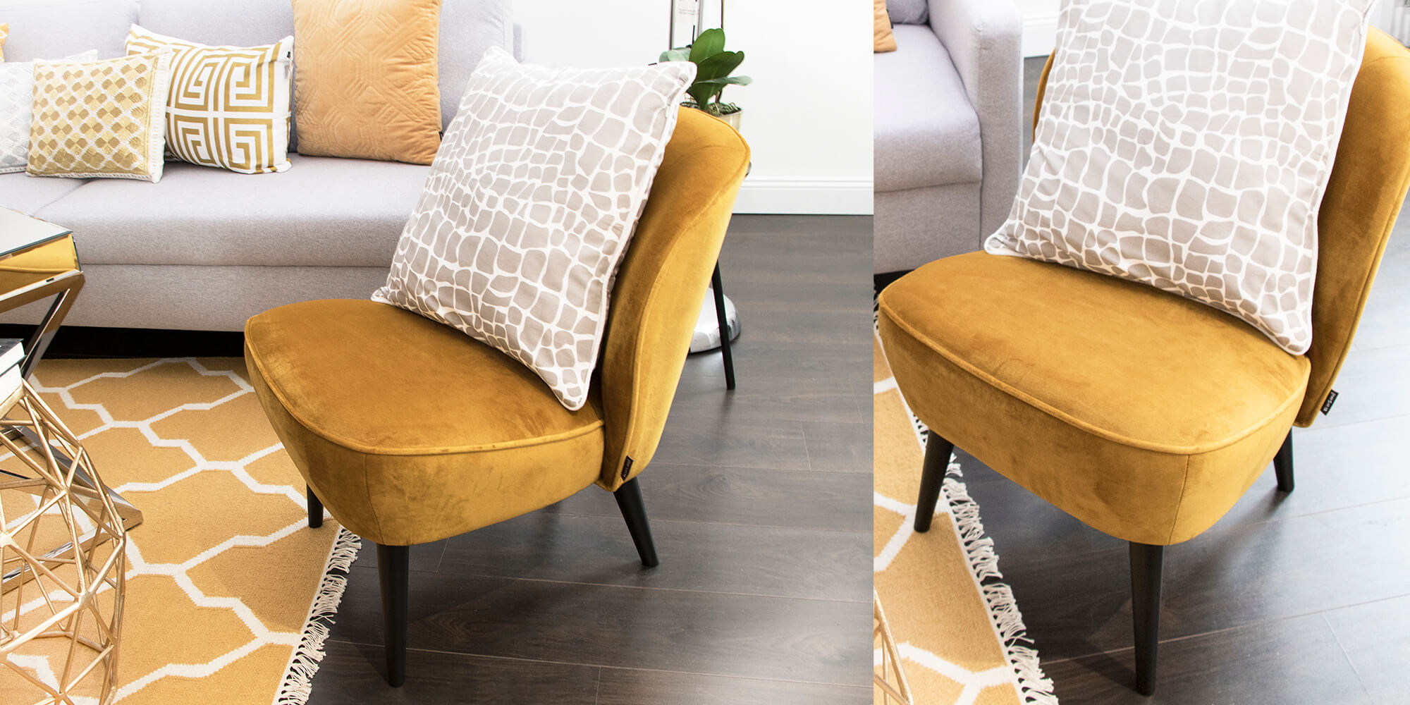 Pure Velvet Gewinnspiel: Samtiger Sessel mit konischen Füßen