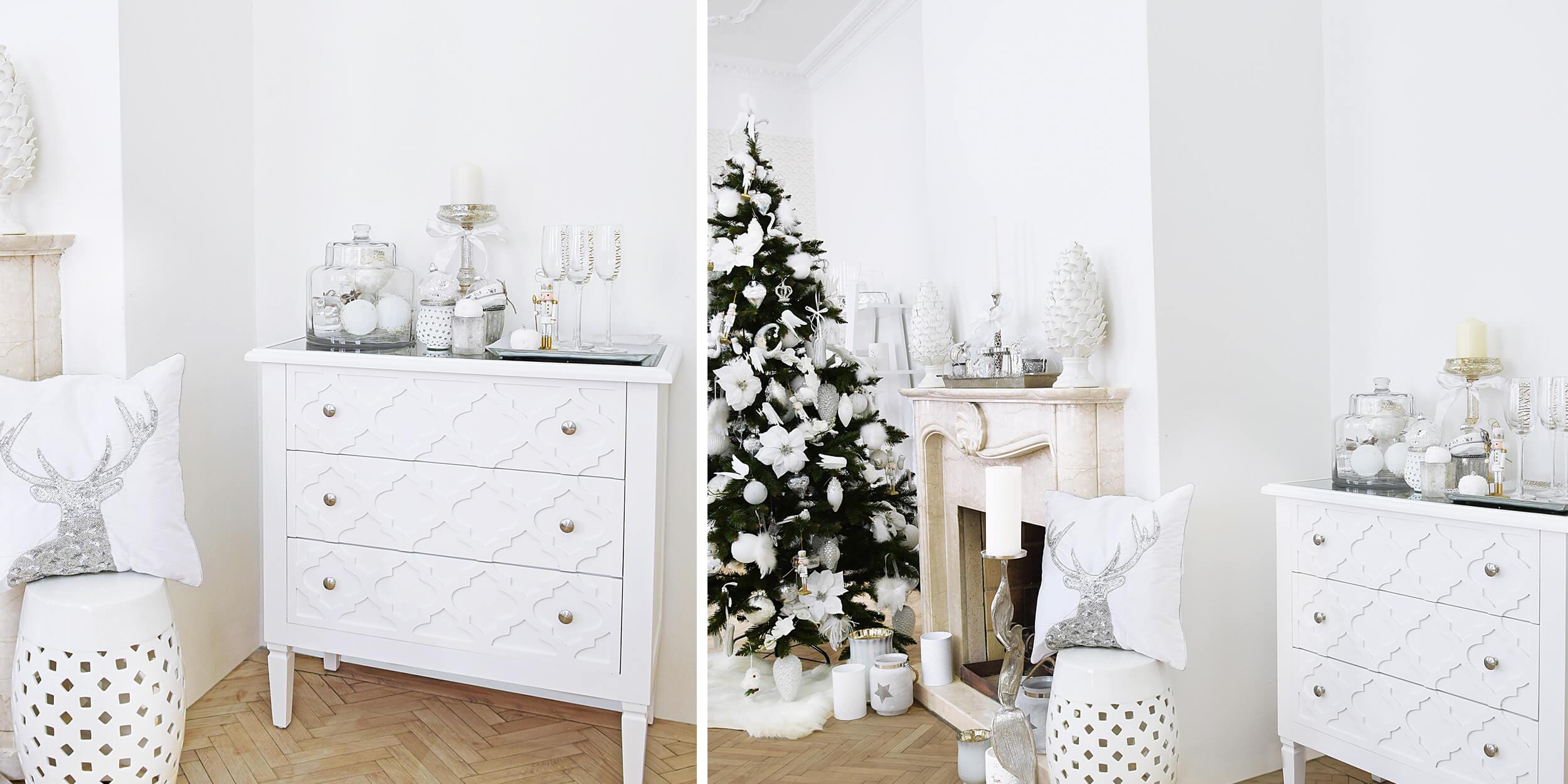weiße Kommode mit Trellismuster & winterlicher Deko