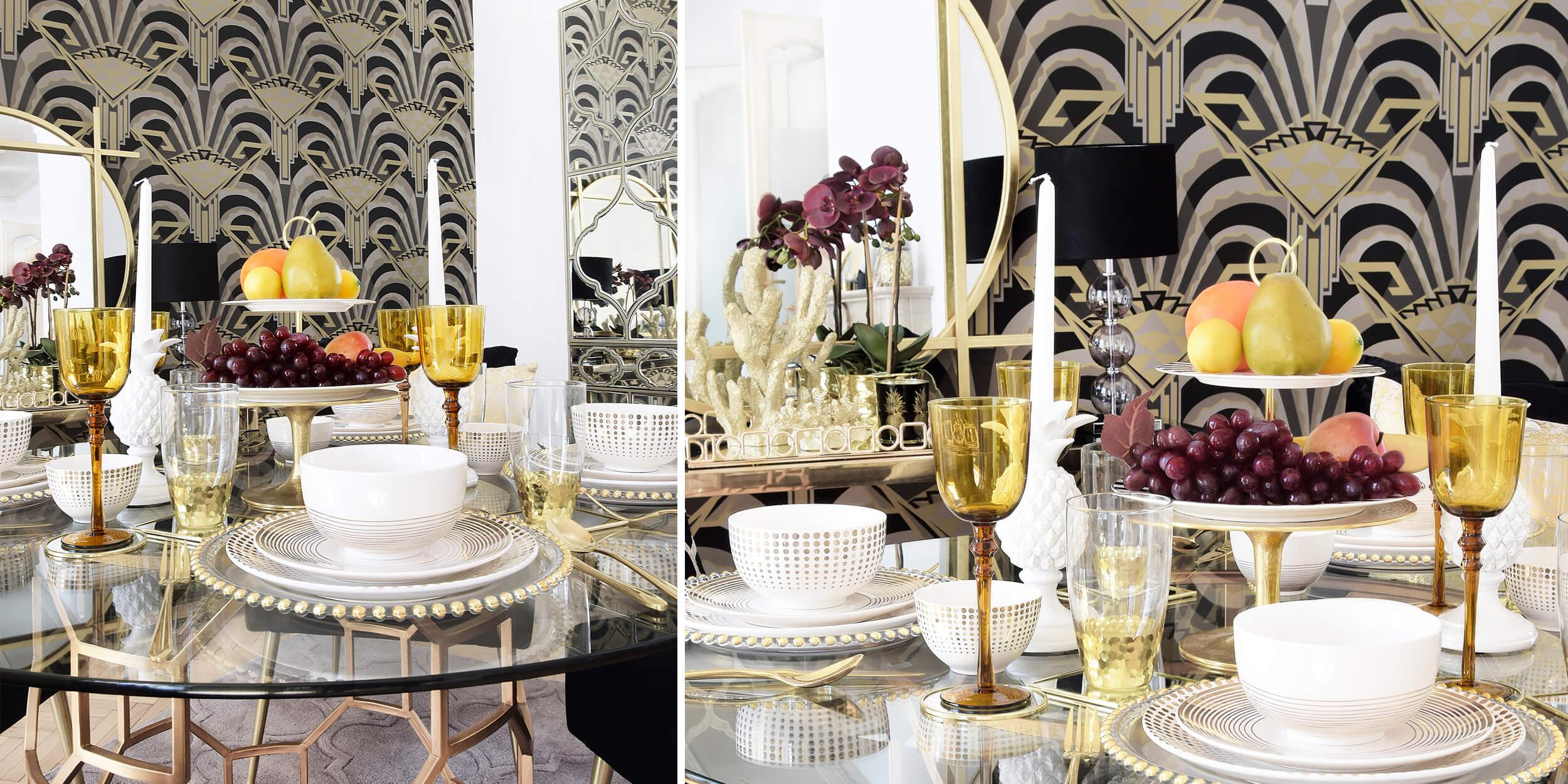 Stilvolle Tisch-Essentials in Gold & Weiß