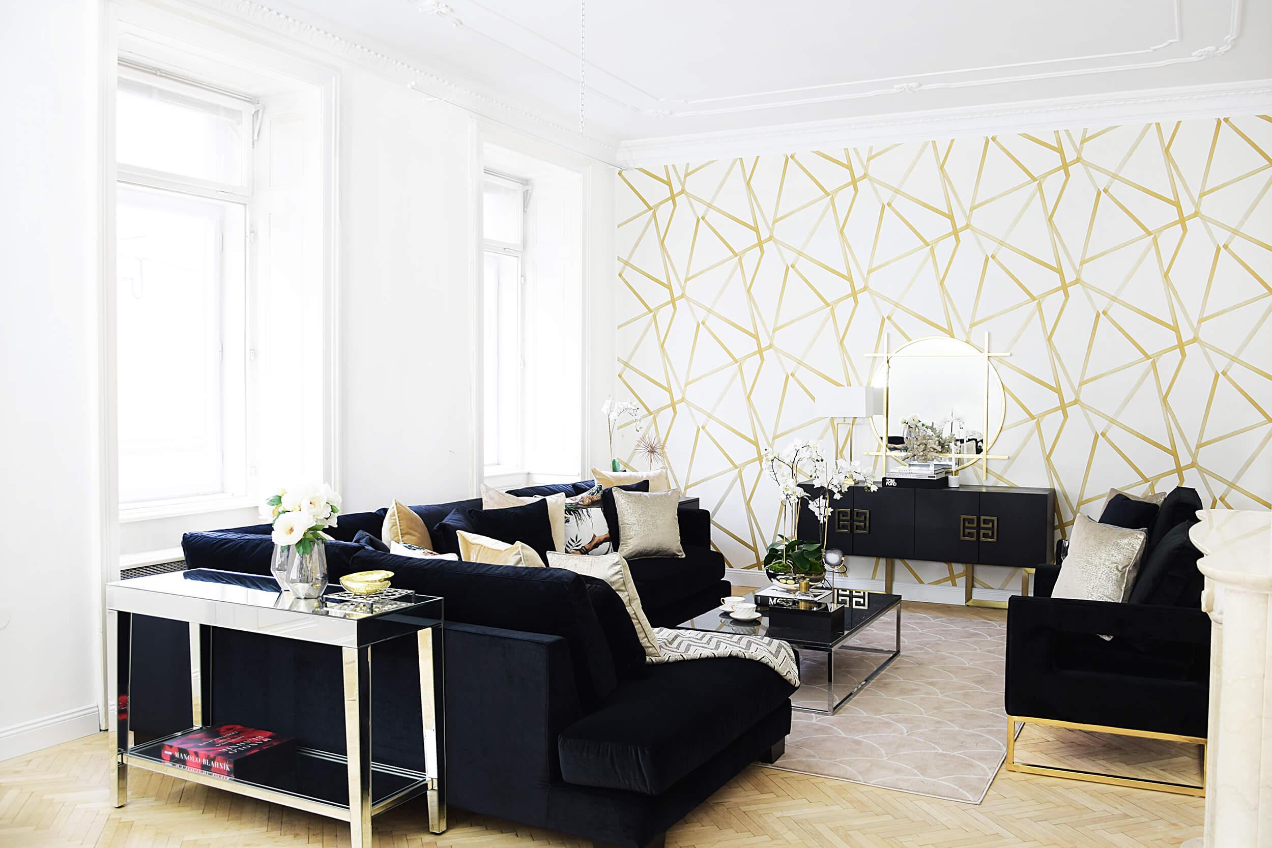 Black Velvet - Wohnzimmer in schwarzem Samt