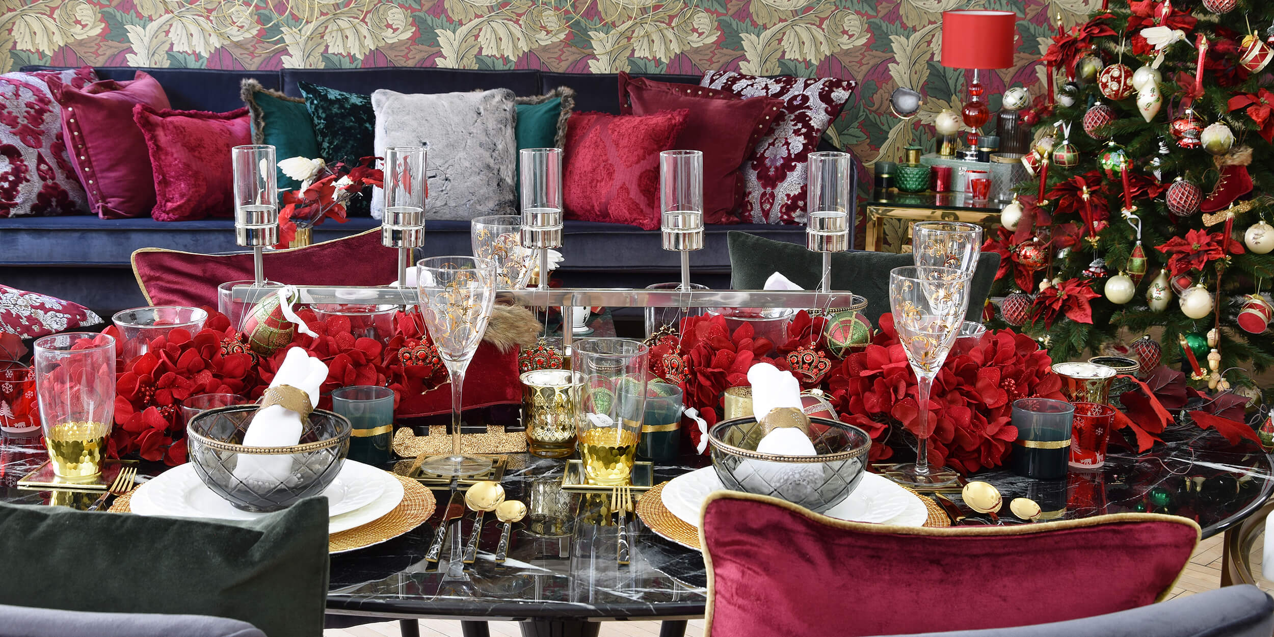 Perfect Christmas Dinner Tischdeko In Gold Rot Grun Instashop