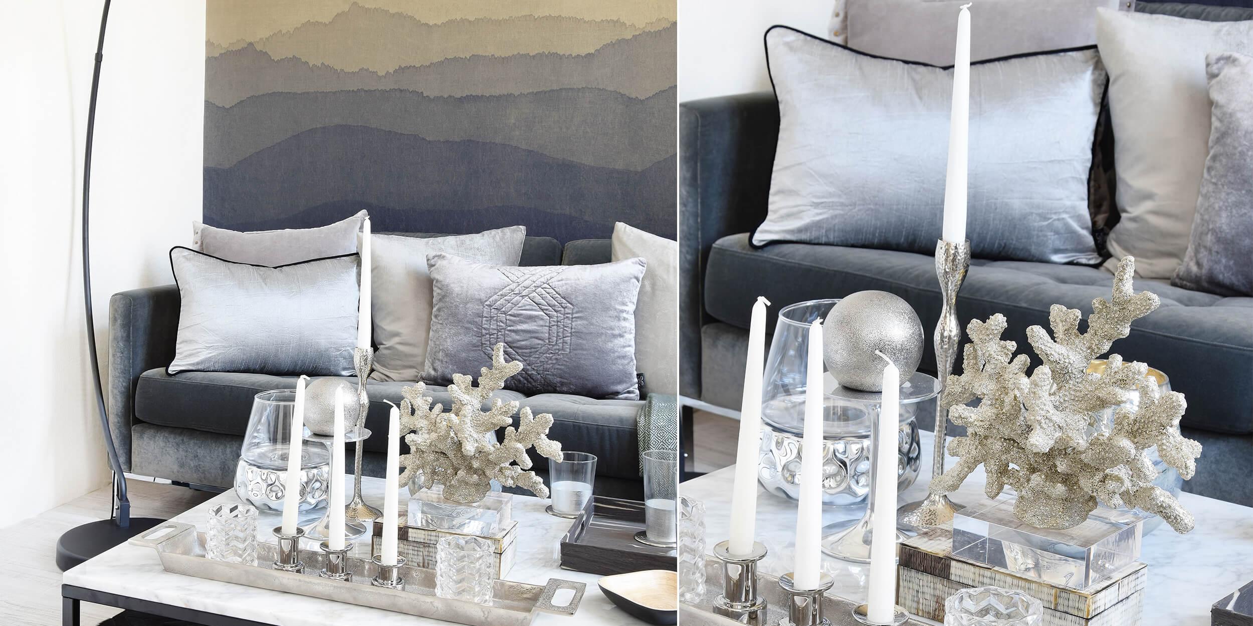 Deko-Details in Grau & Silber