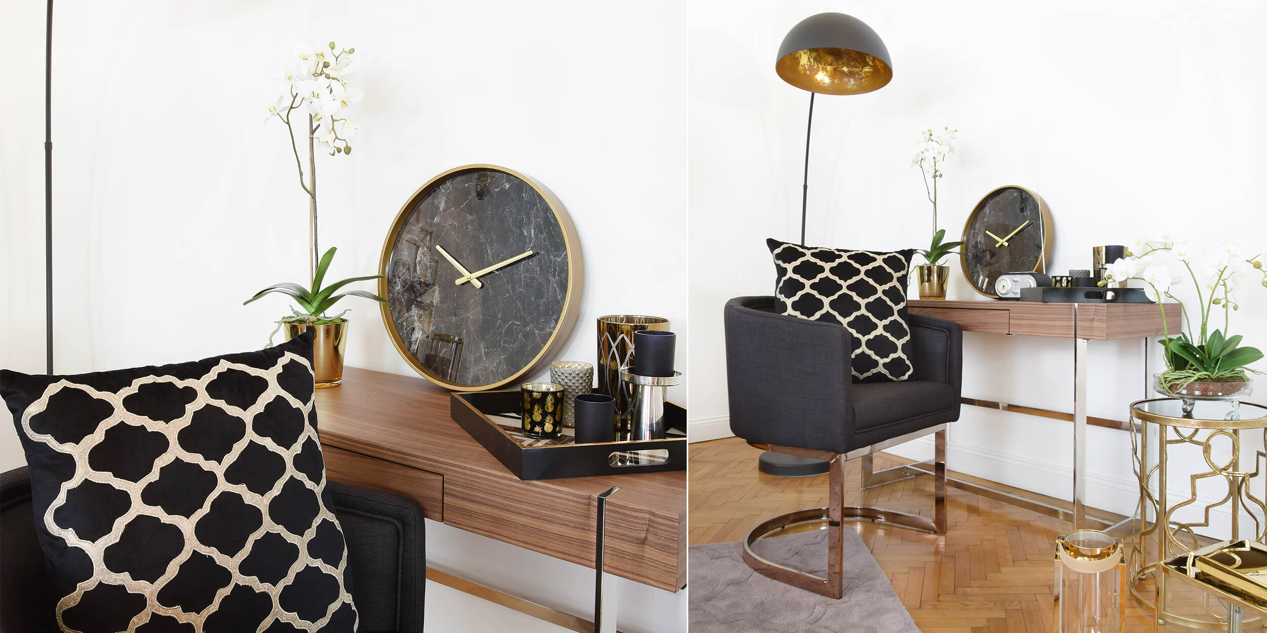 Elegant Workspace: Gold & Schwarz meets Holz & Chrom