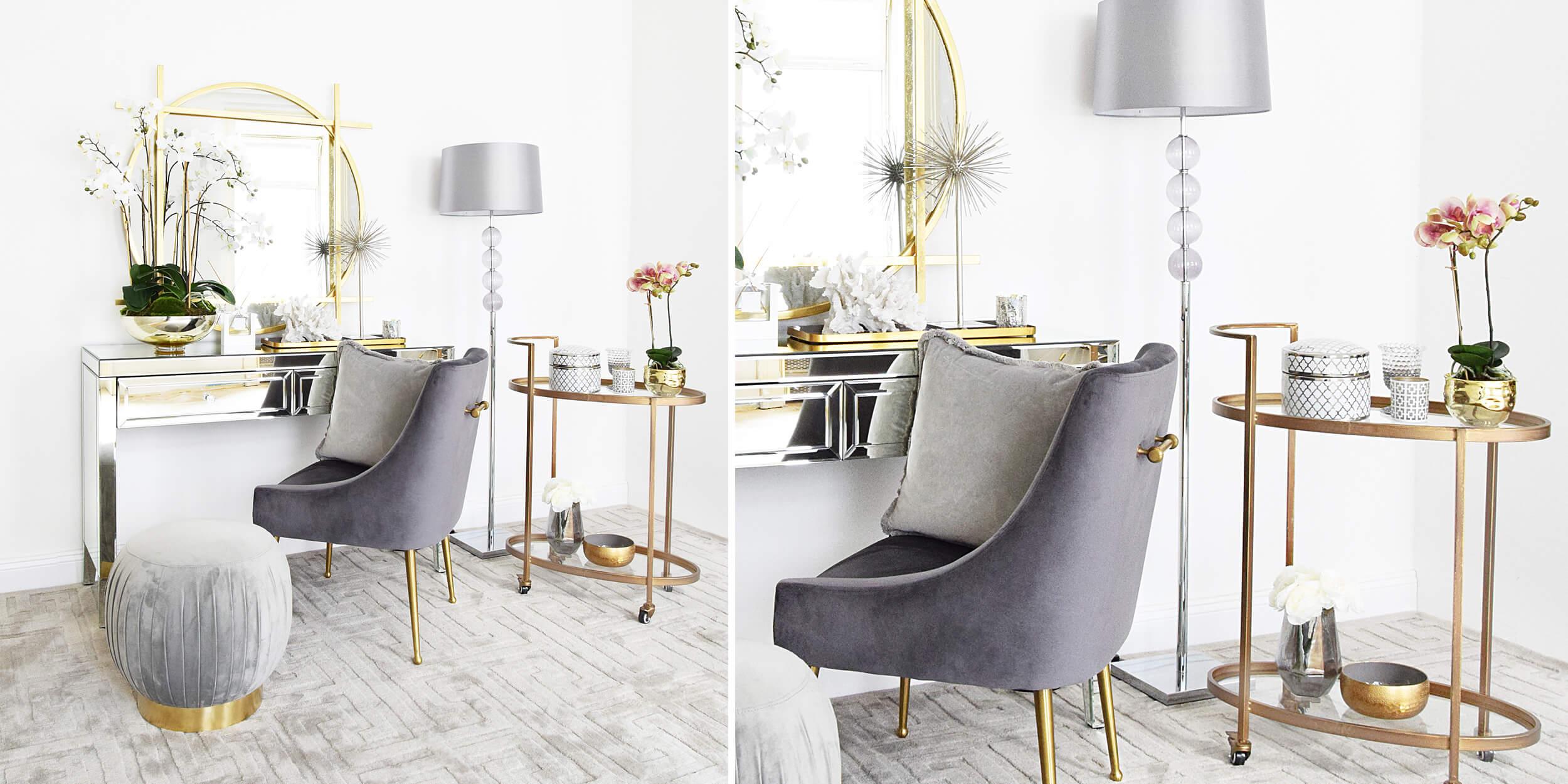 eleganter Beauty-Bereich in Grau & Gold