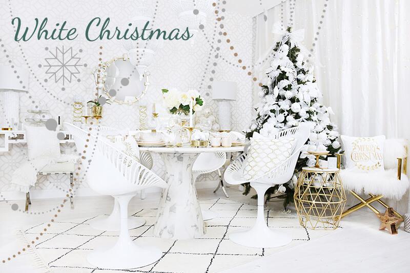 White Christmas -Weihnachtsdeko in purem Weiß