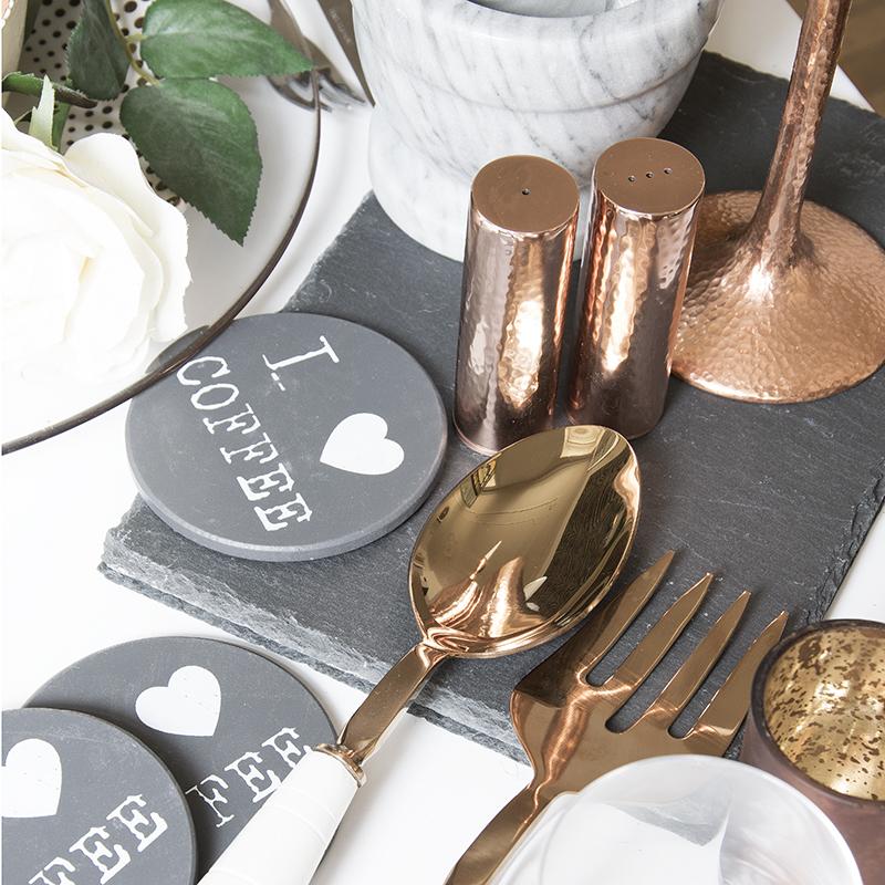 Trendige Tisch-Accessoires in Kupfer & Marmor