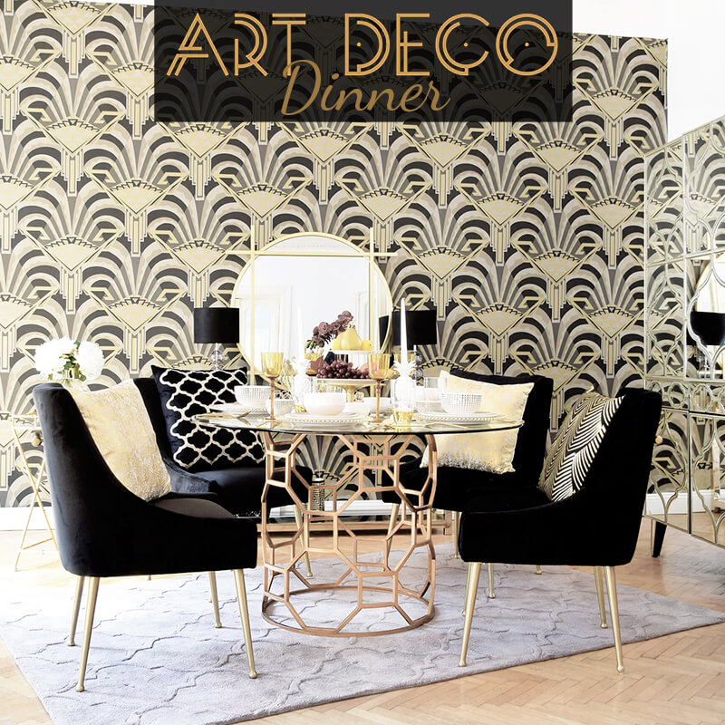 Get the Look: Art Déco-Dinner - Esszimmer in Gold & Schwarz
