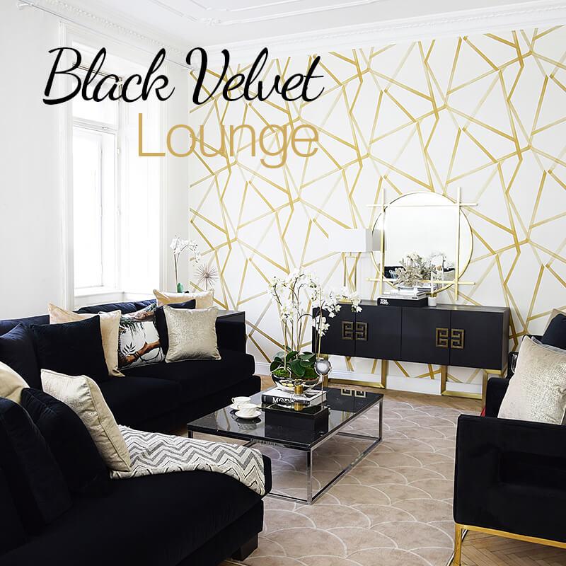 New Look! Black Velvet - Wohnzimmer in schwarzem Samt