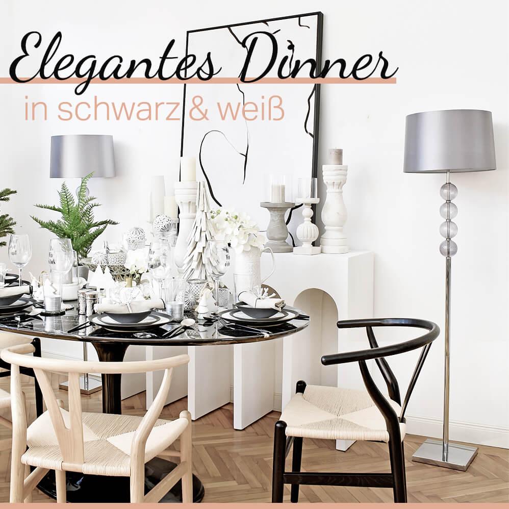 elegantes Dinner in schwarz & weiß