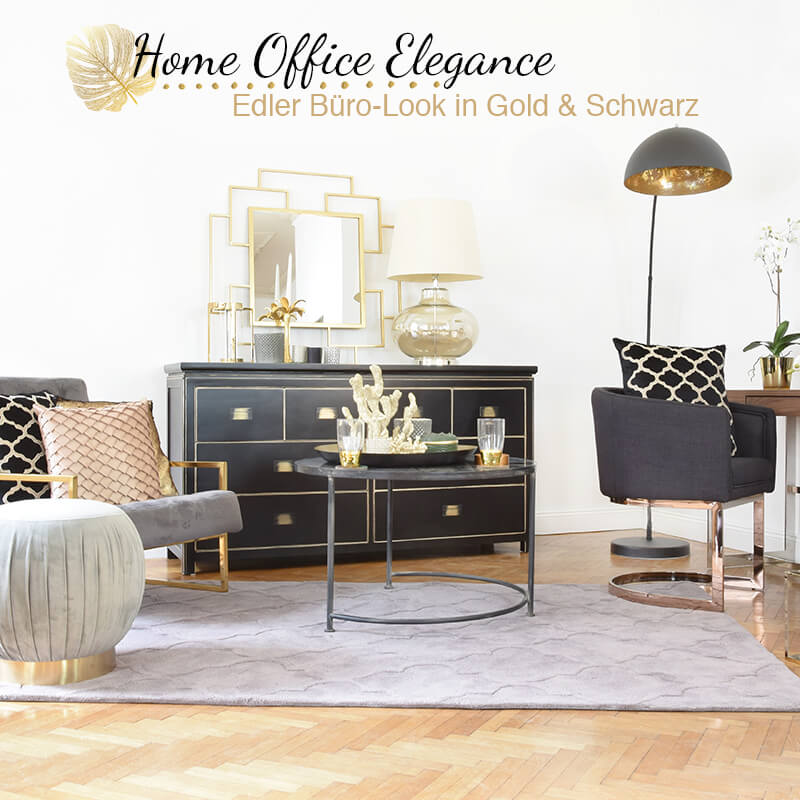 Get the Look: Home Office Elegance - Büro in Gold & Schwarz
