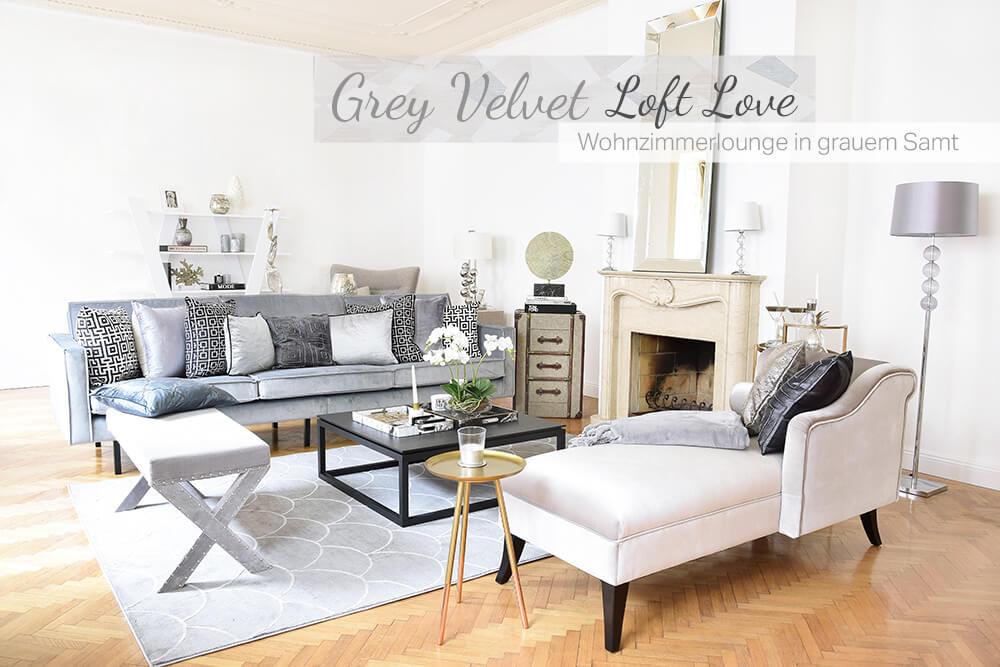 Grey Velvet Loft Love! Wohnzimmerlounge in grauem Samt