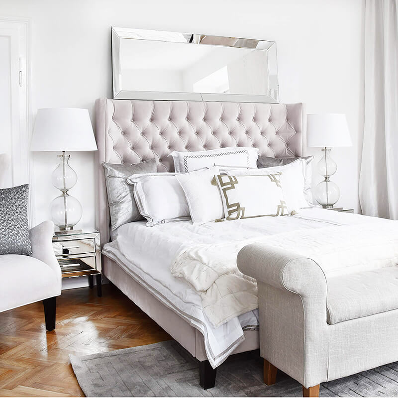 Get the Look: Luxury Pearl White Bedroom