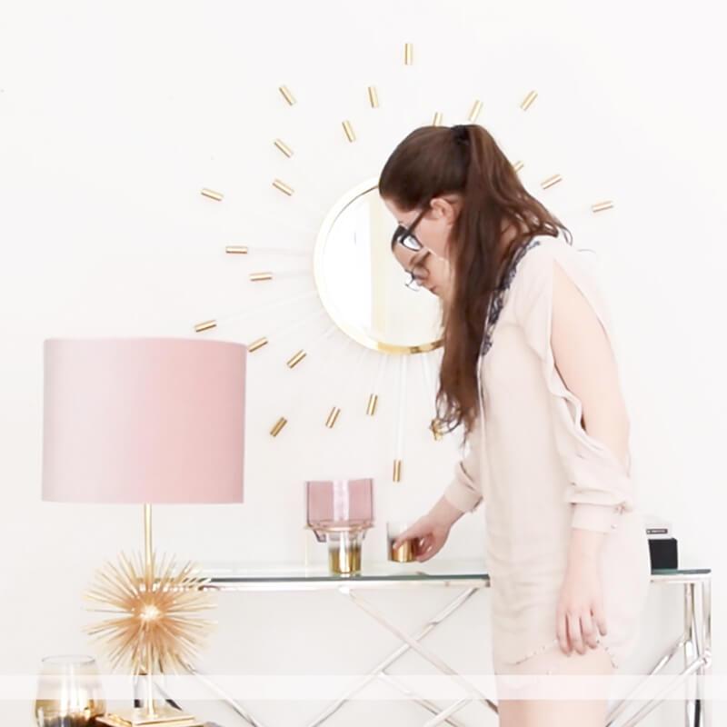 rosa Tischleuchte mit Wow-Effekt
