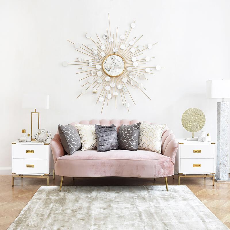 wandelbares muschelförmiges Samt-Sofa