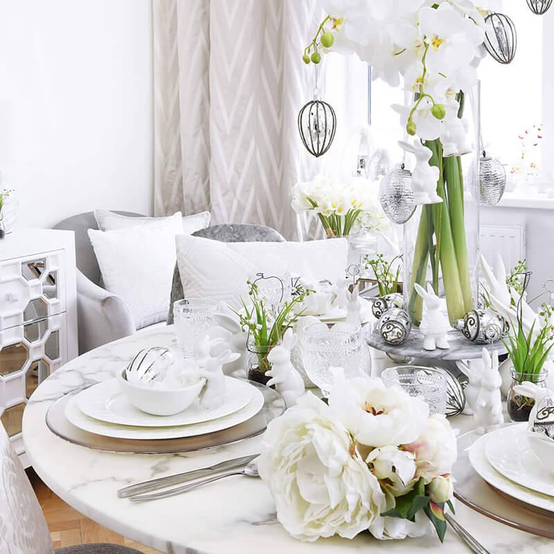 Osterbrunch! Osterdeko für den Esstisch in Weiß & Silber