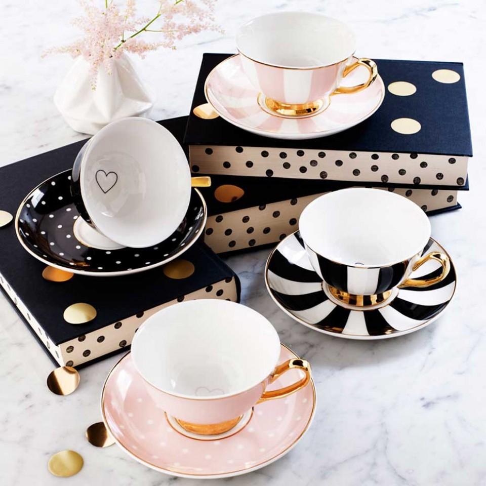 Teatime! Tassen in schwarz & rosa