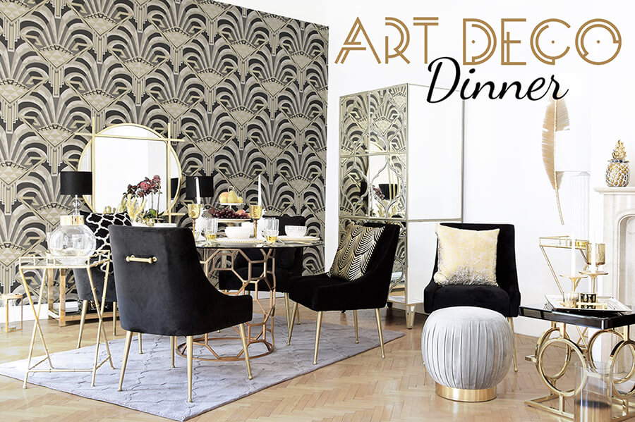 Art Déco-Dinner - Prunkvolles Esszimmer in Gold & Schwarz