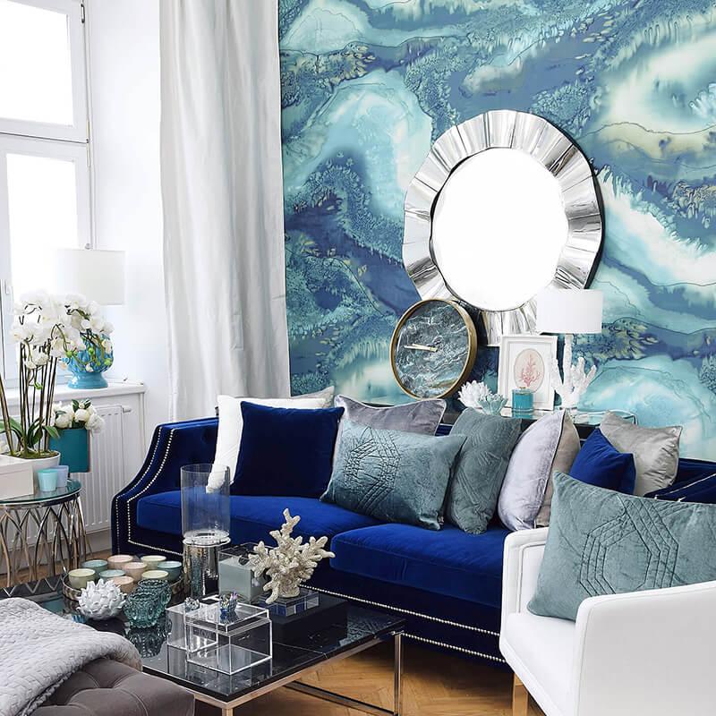 elegante Lounge mit Trend-Materialien