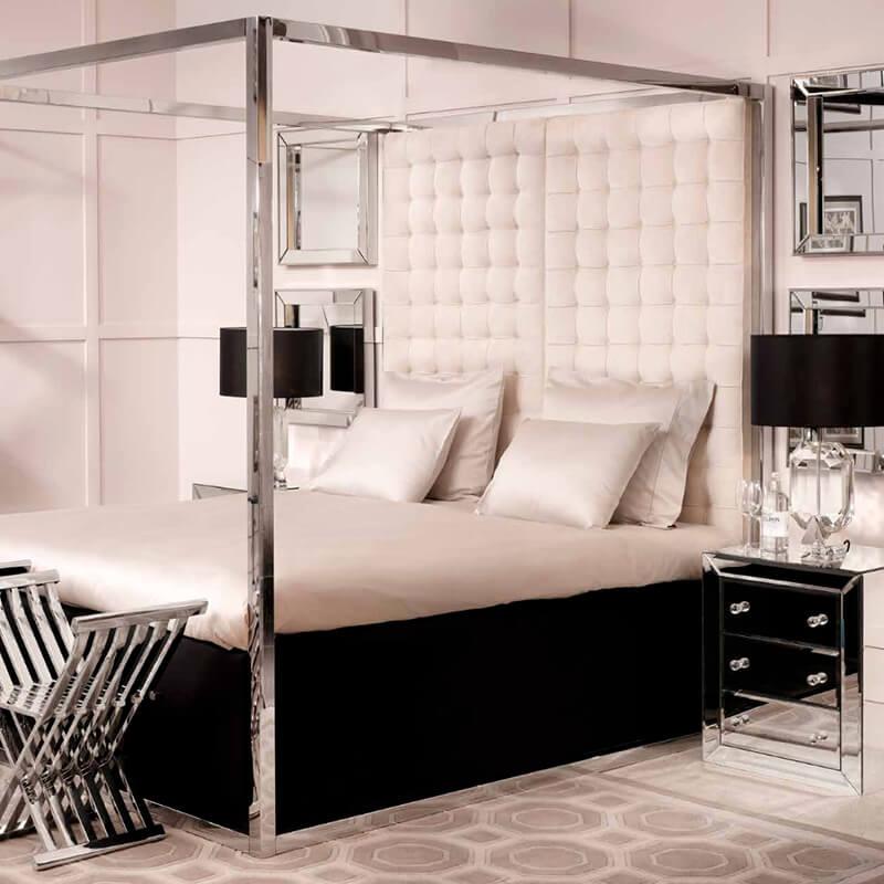 Glamour pur: Edles Schlafzimmer in Nude- und Silbertönen