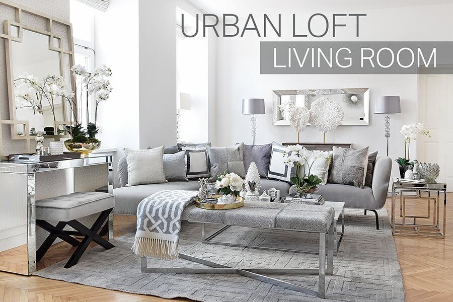 Urban Loft Livingroom - Wohnzimmer in Silber & Grau