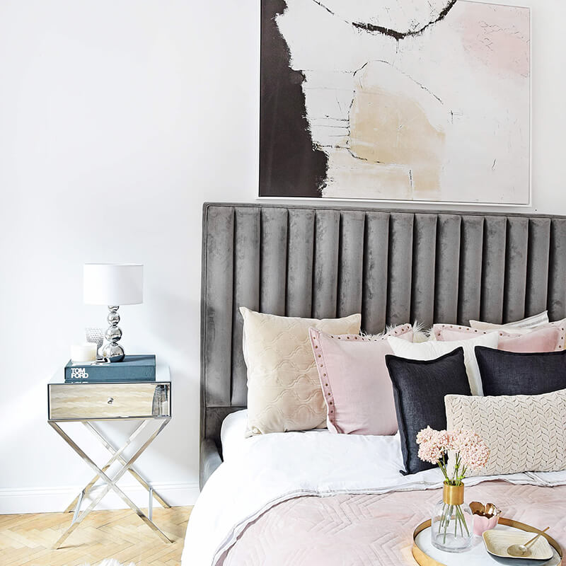 Blush, Black & Grey Bedroom-Shades