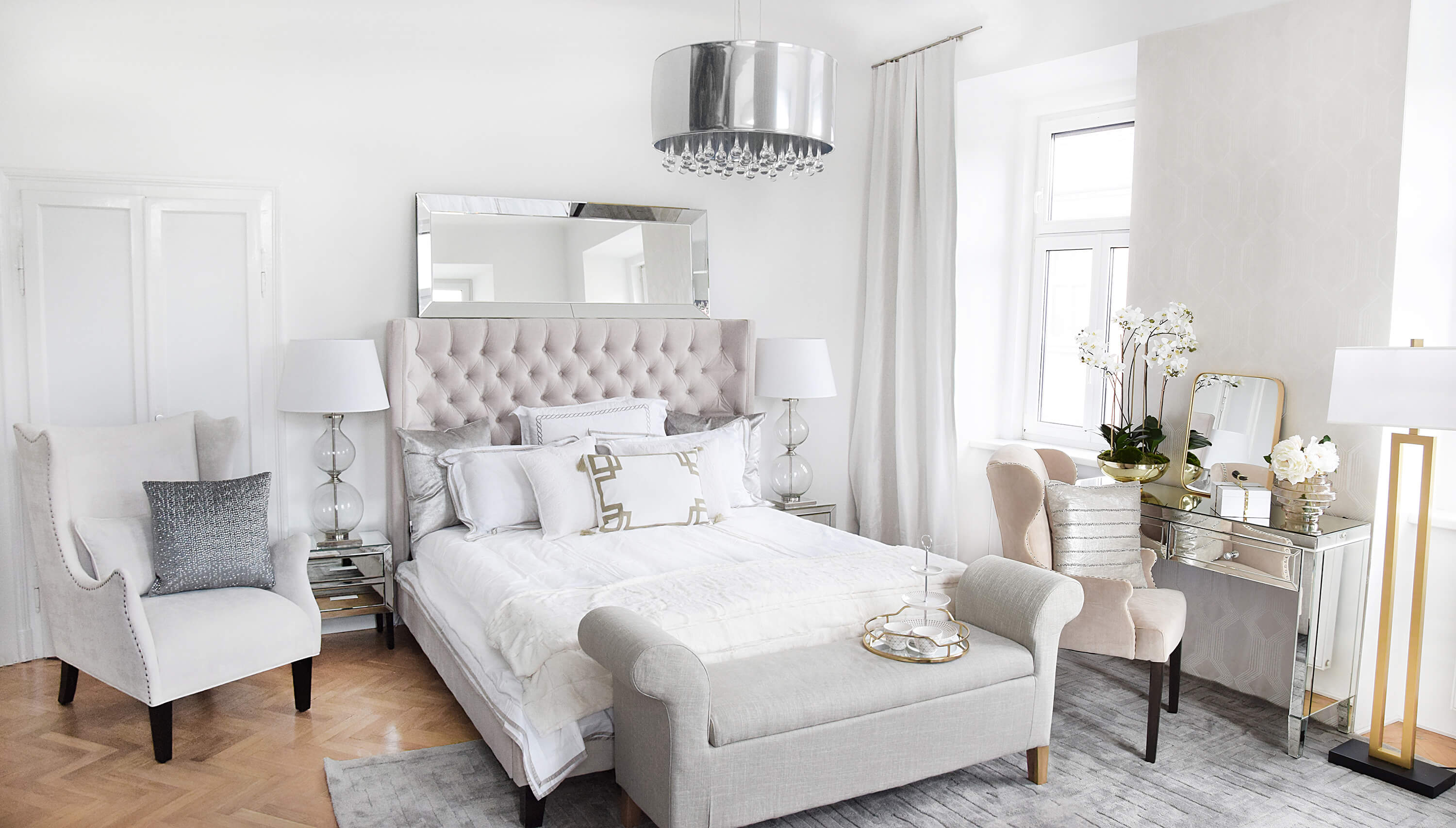 Luxury Pearl White Bedroom