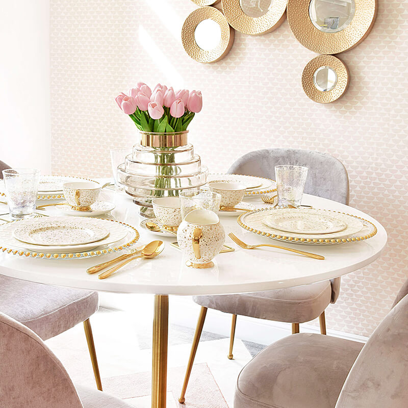 Weekend-Brunch - Tafel in Gold & Pastelltönen