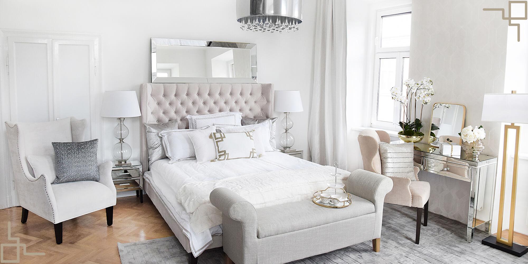 Get the Look: Luxury Pearl White Bedroom