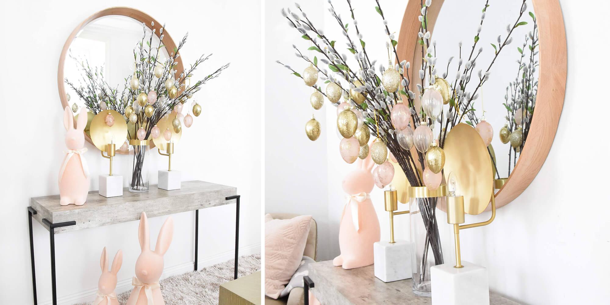 Glamouröser Osterstrauch in Gold & Rosa