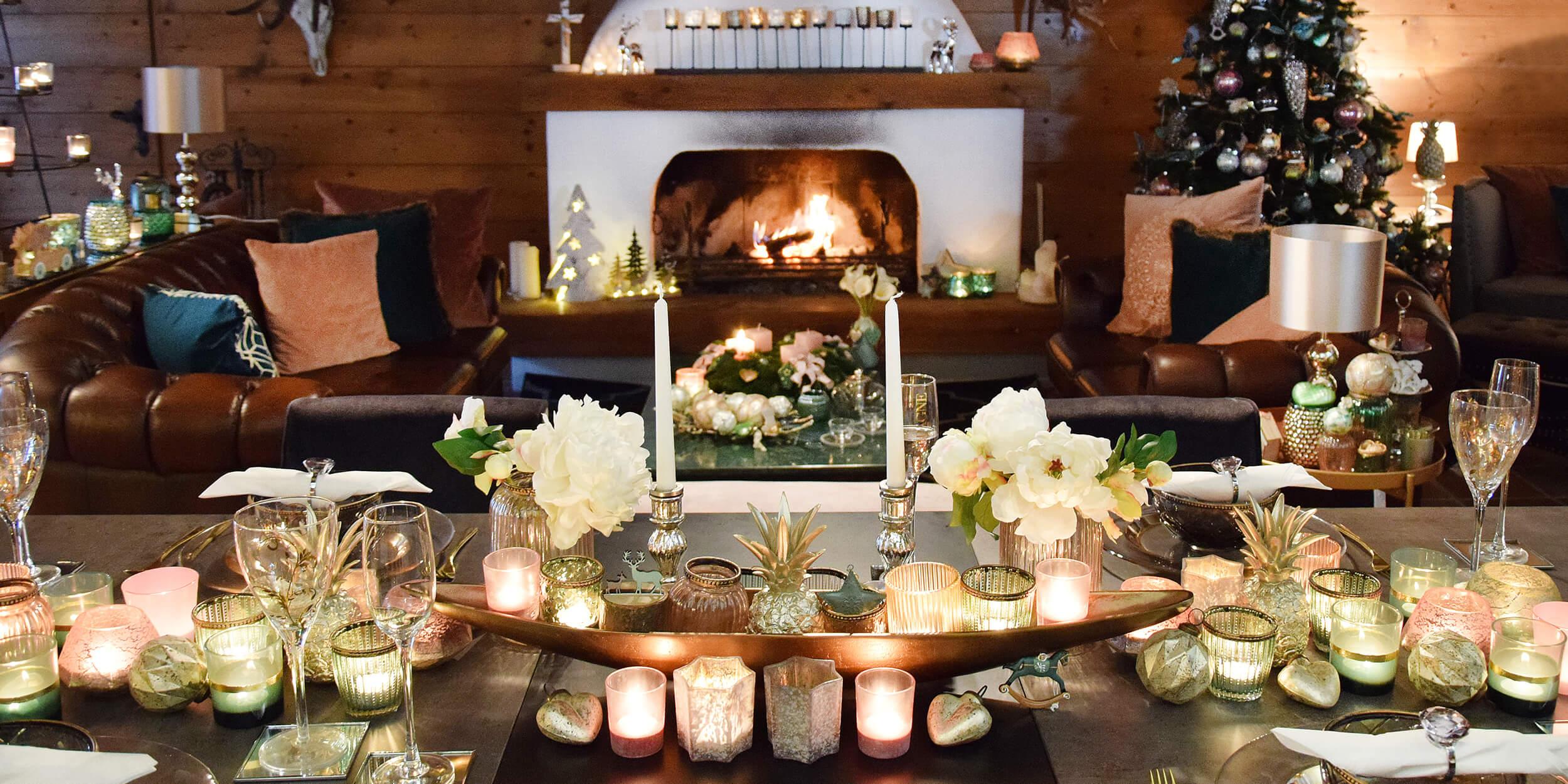 Weihnachtstafel mit Kaminfeuer!