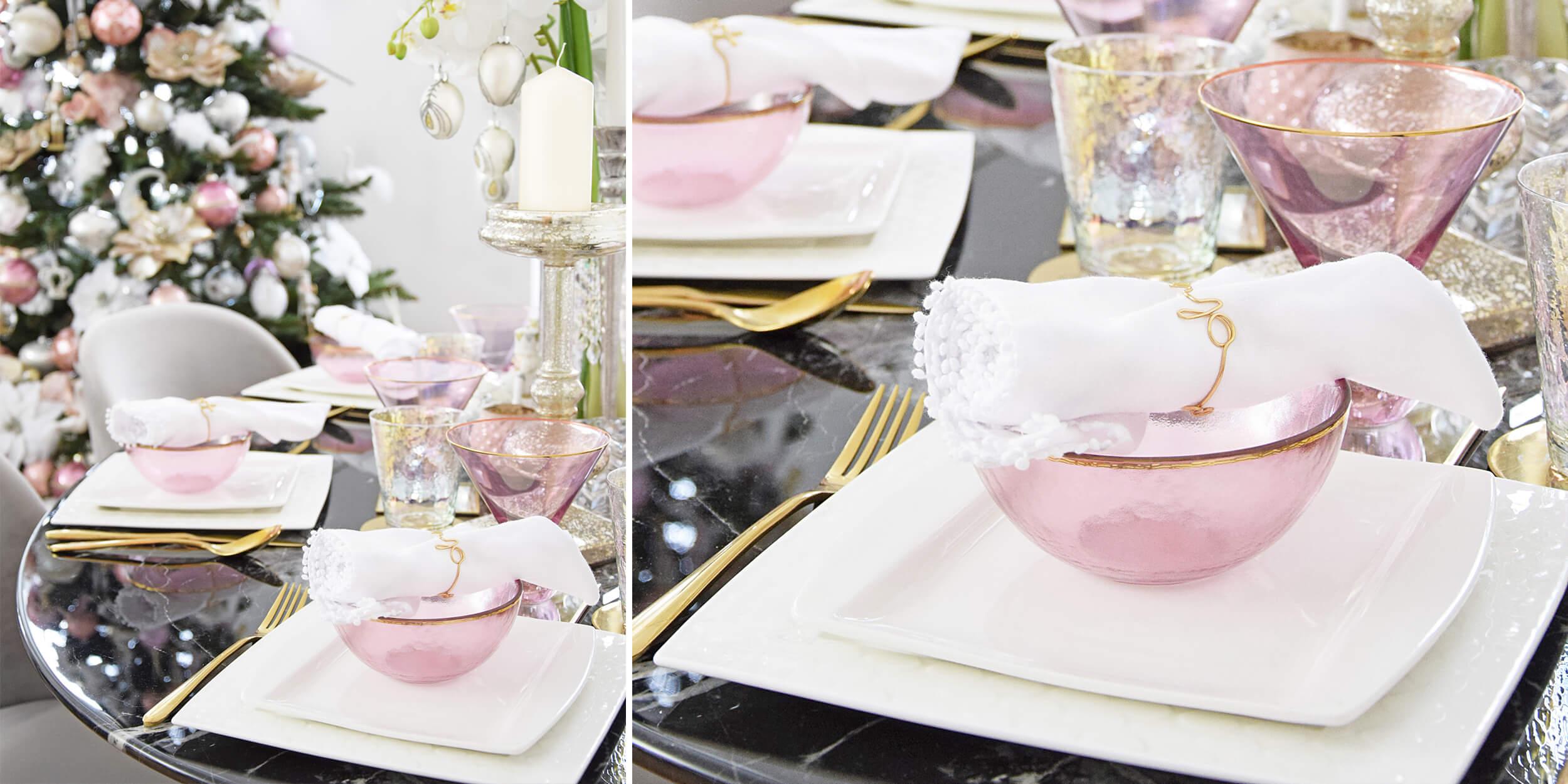 weihnachtlich dekorierter Esstisch - schwarzer Marmor & rosa Glas