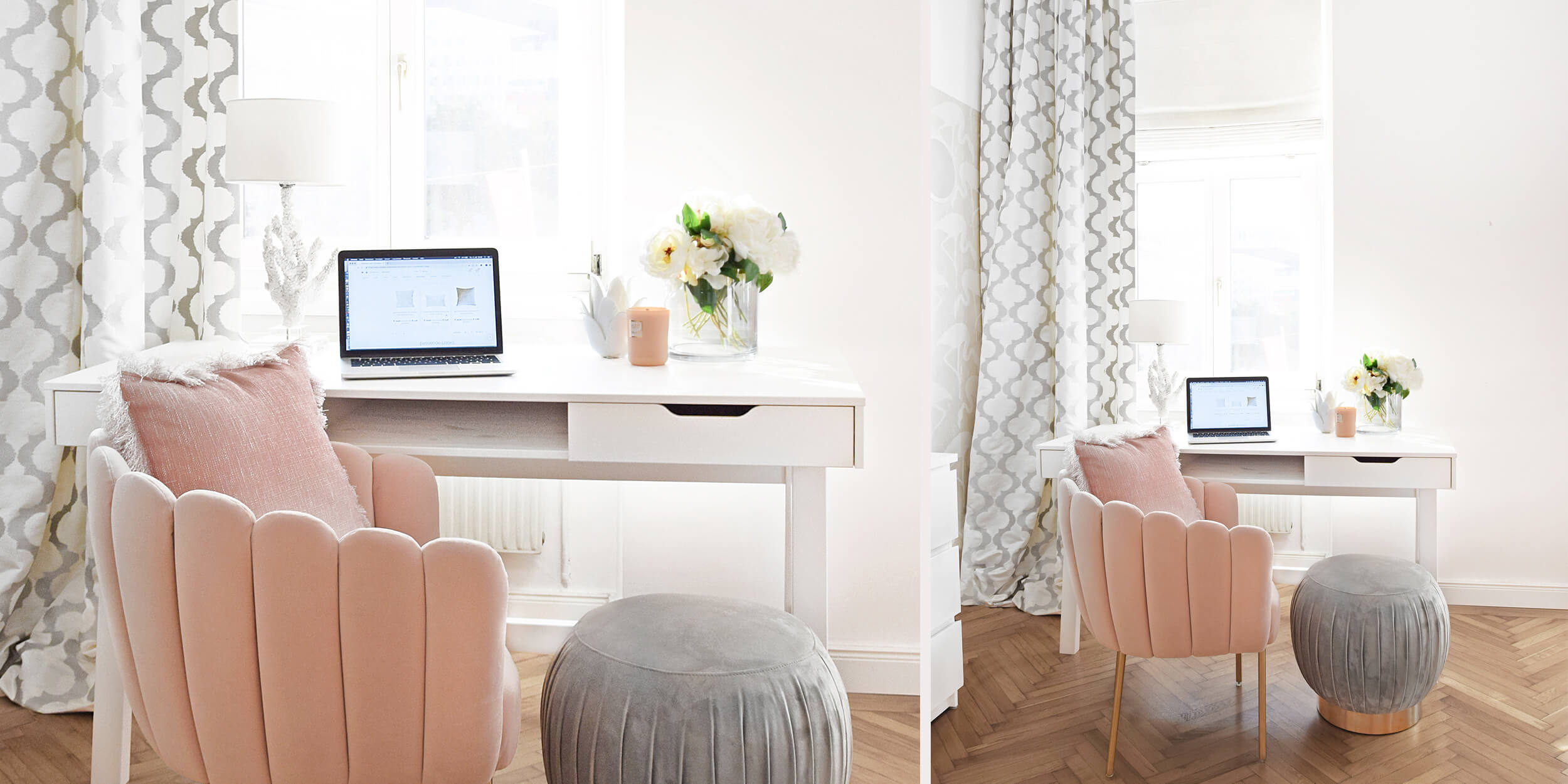 Coziness Deluxe: Home-Office in Rosa & Weiß