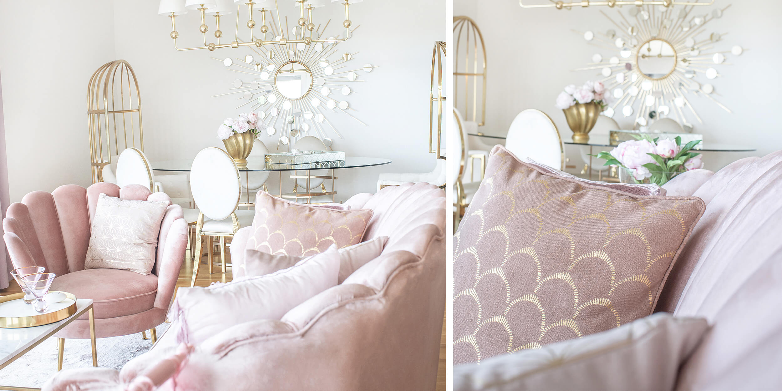 Shades of Pink! Wohnzimmer in rosa Samt
