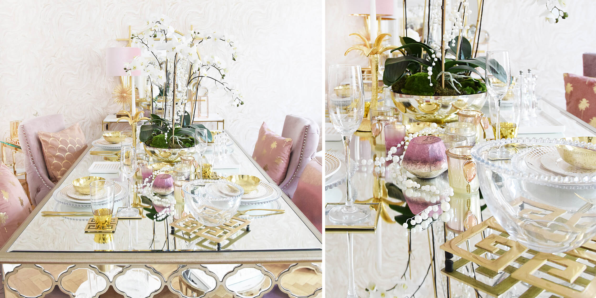 Tafel-Deko für Silvester! Rosa & Gold