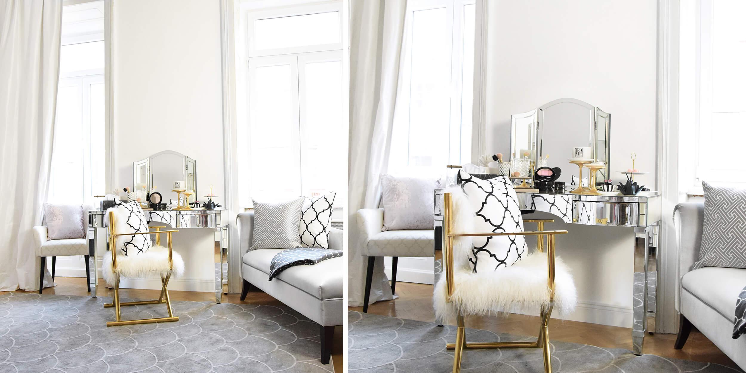 Beauty Corner - verspiegelter Schminktisch & elegante Accessoires