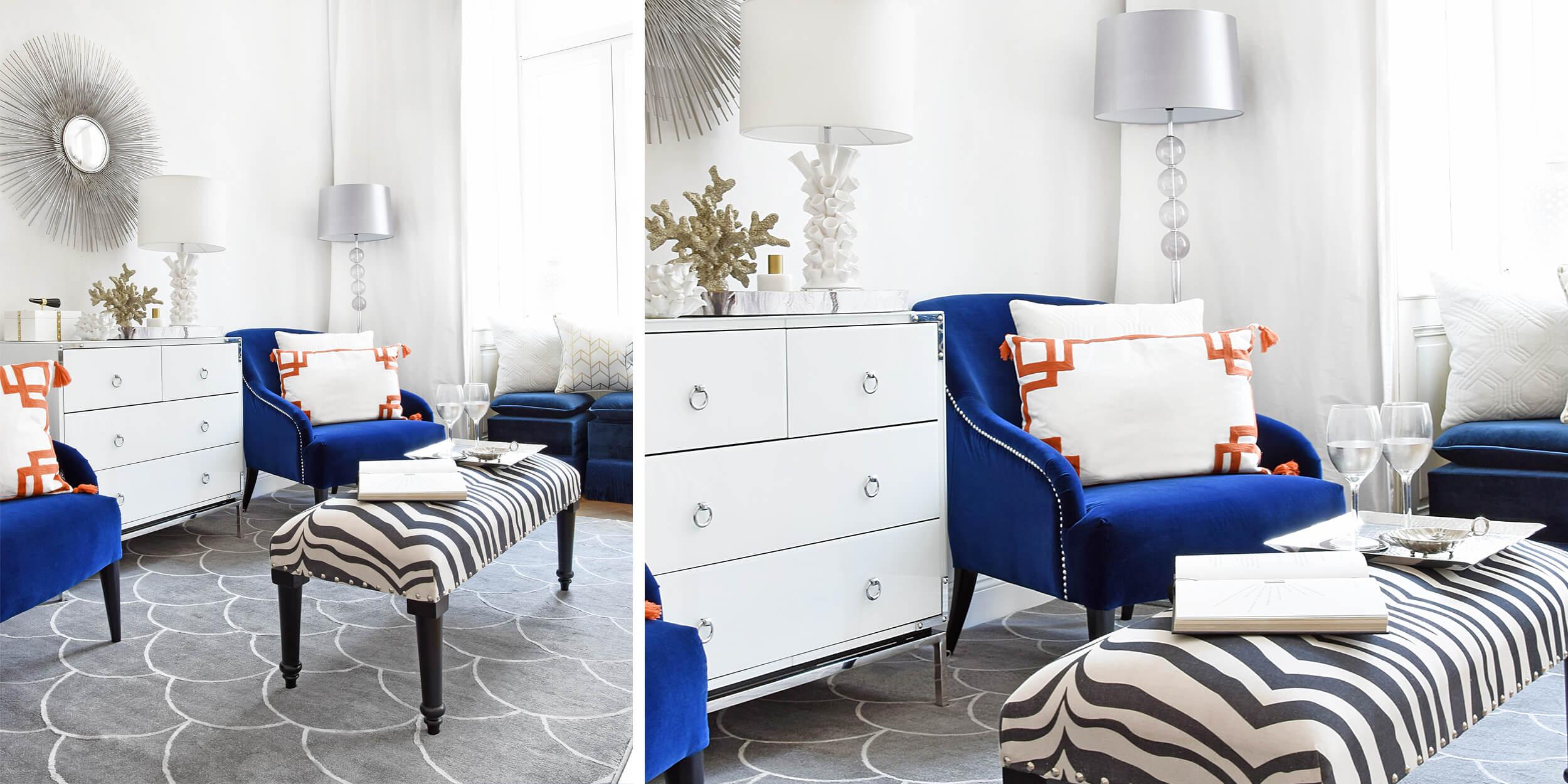 Wohnoase in kräftigem Blau & Weiß