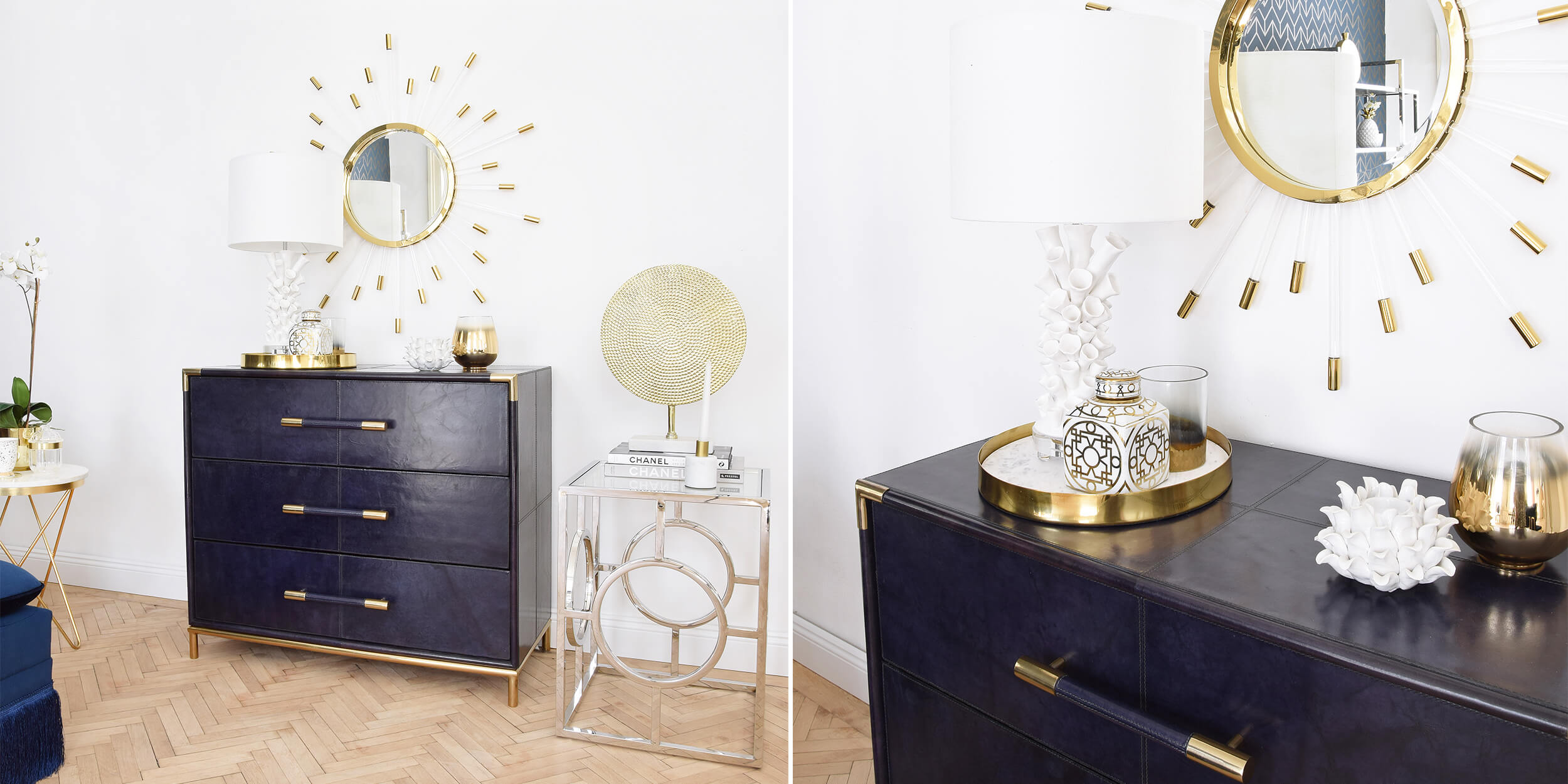 Statement-Piece: Dunkelblaue Kommode & goldene Details