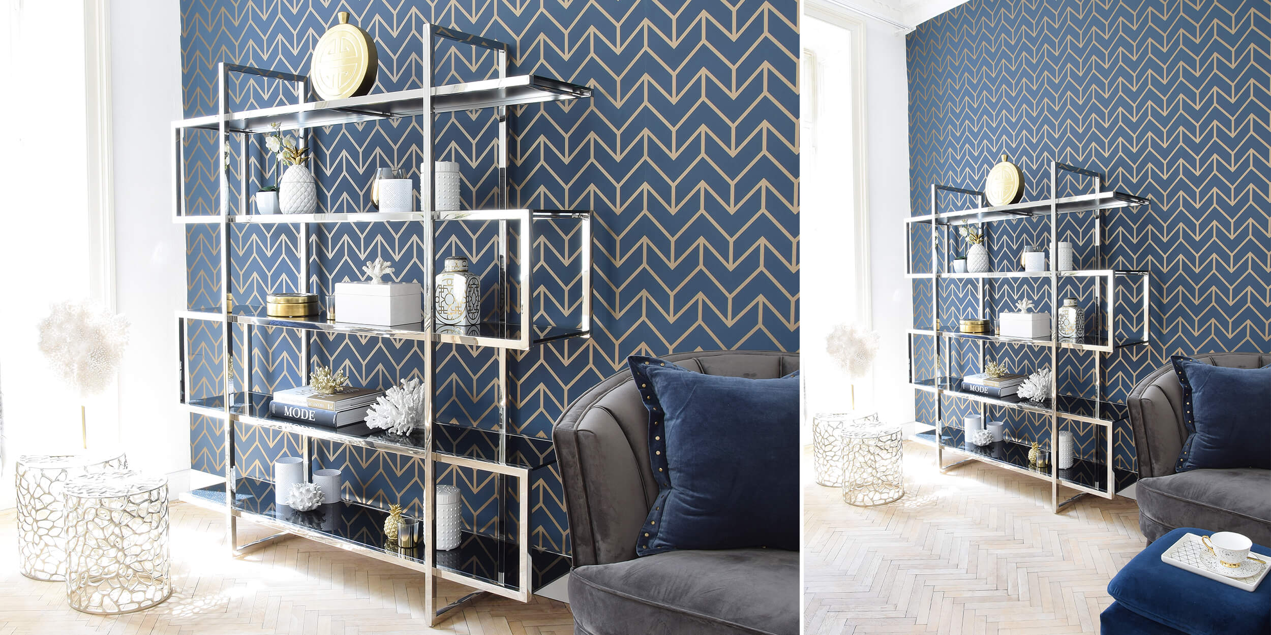 Modernes Bücherregal stylish dekoriert :)
