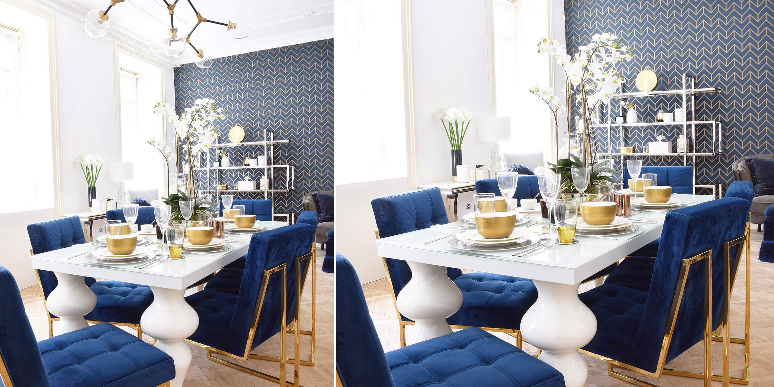 Royal Dinner: Extravagante Tafel & königsblaue Samtsessel