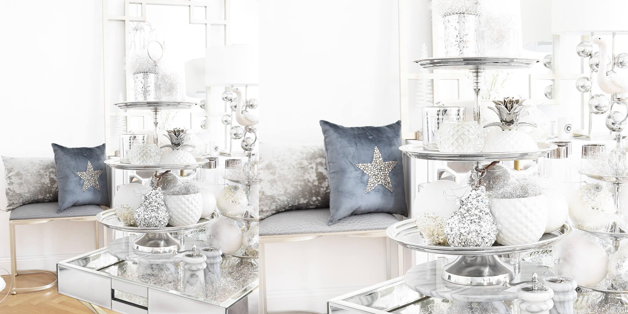 Weihnachtsdeko In Silber Und Weiß.Weihnachtskugeln