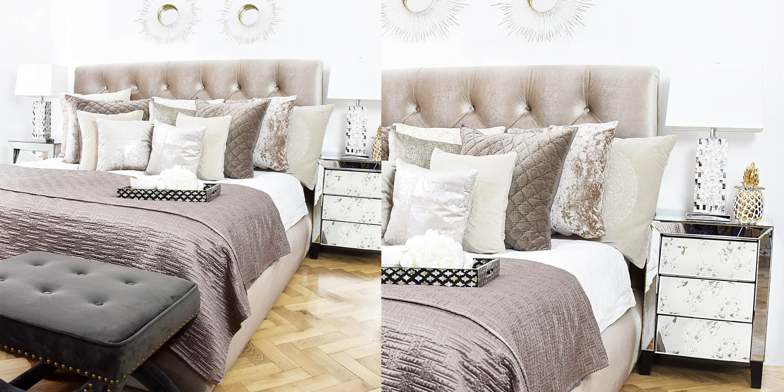 samt schlafzimmer in beige taupe instashop. Black Bedroom Furniture Sets. Home Design Ideas