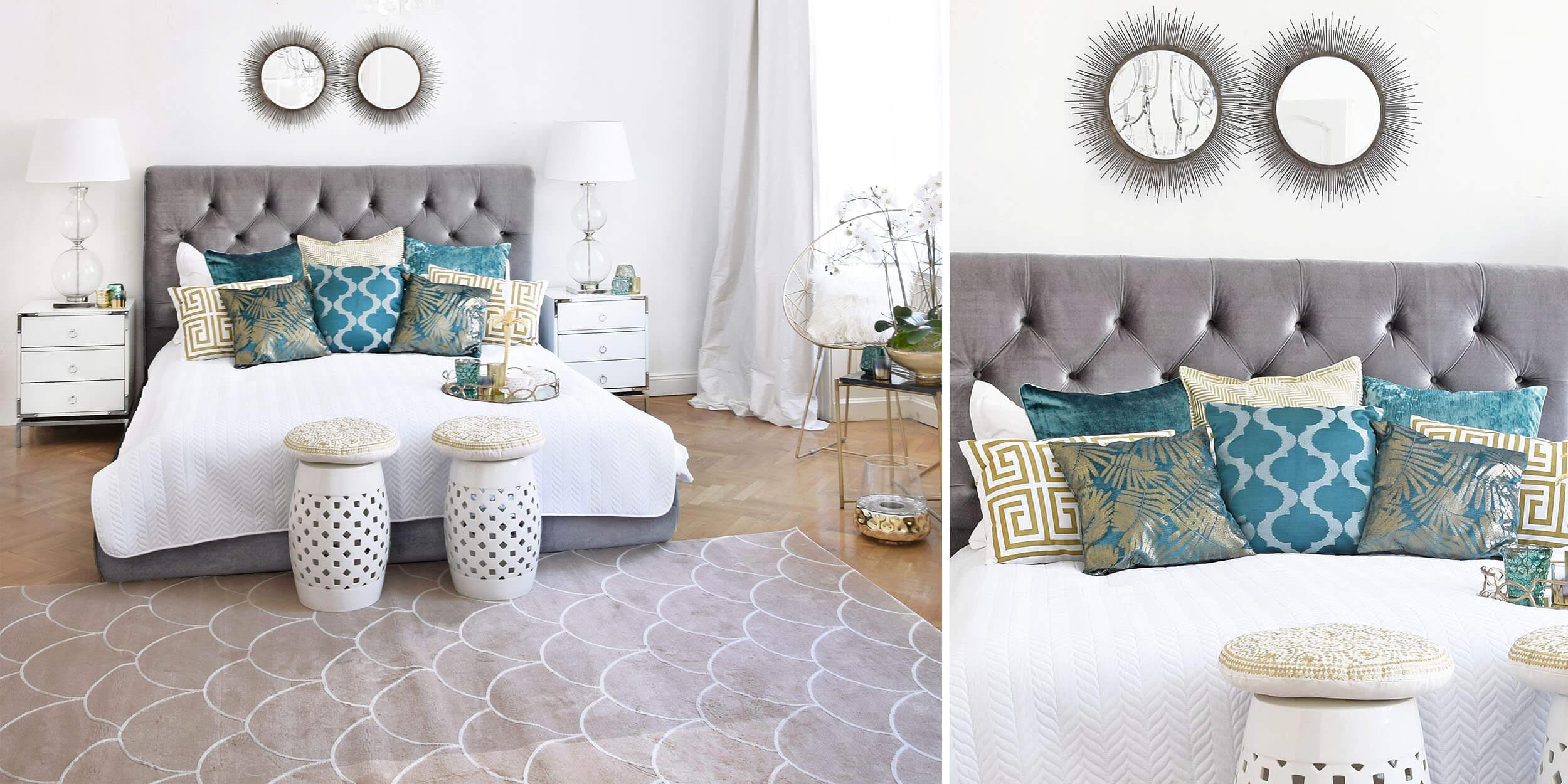 Samtbett-Look 4: Schlafzimmer in Türkistönen