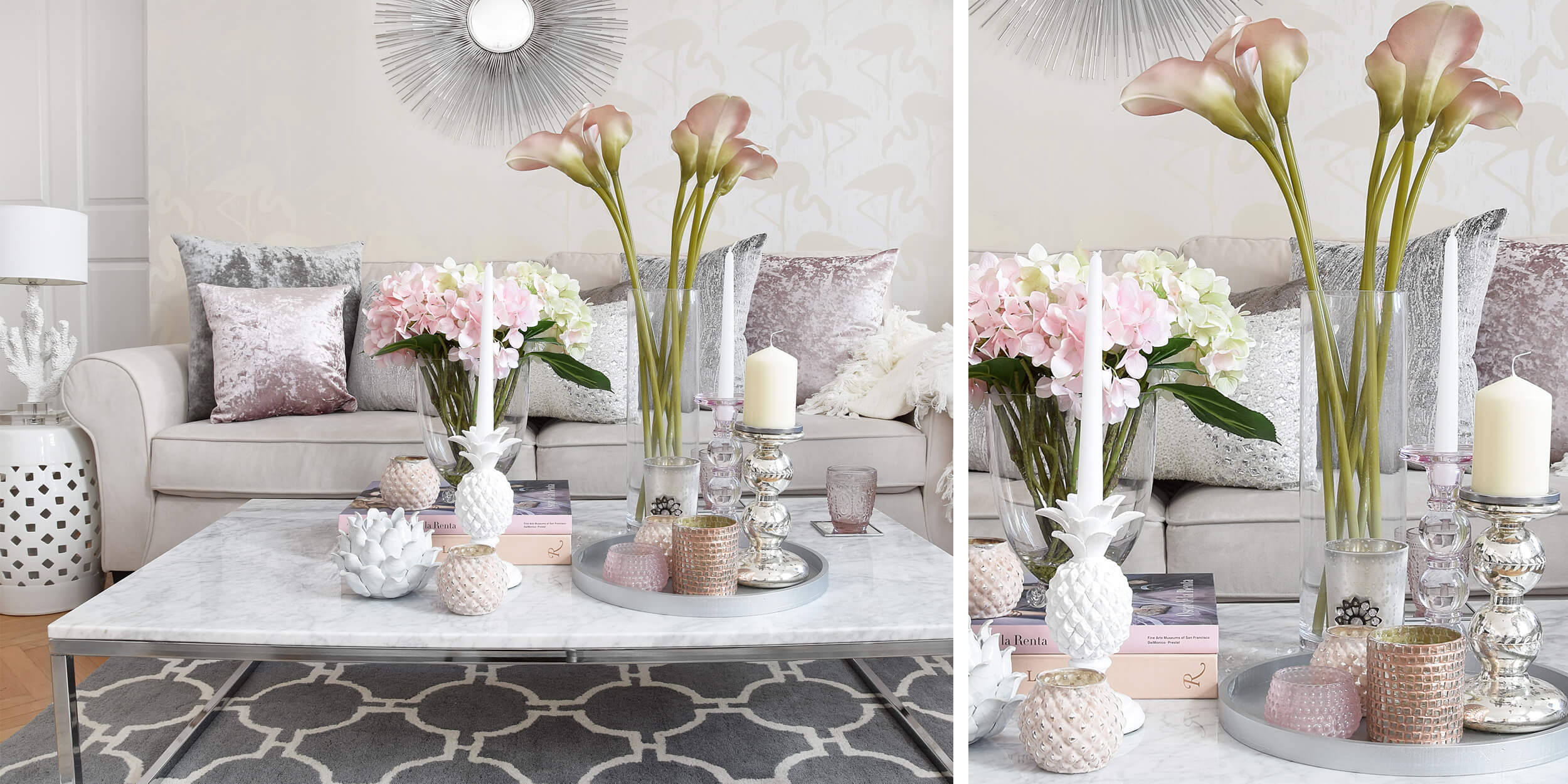 Samtkissen, Frühlingsblumen & Flamingos :)
