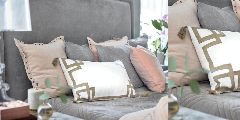 samtkissen in zartem altrosa grau instashop. Black Bedroom Furniture Sets. Home Design Ideas