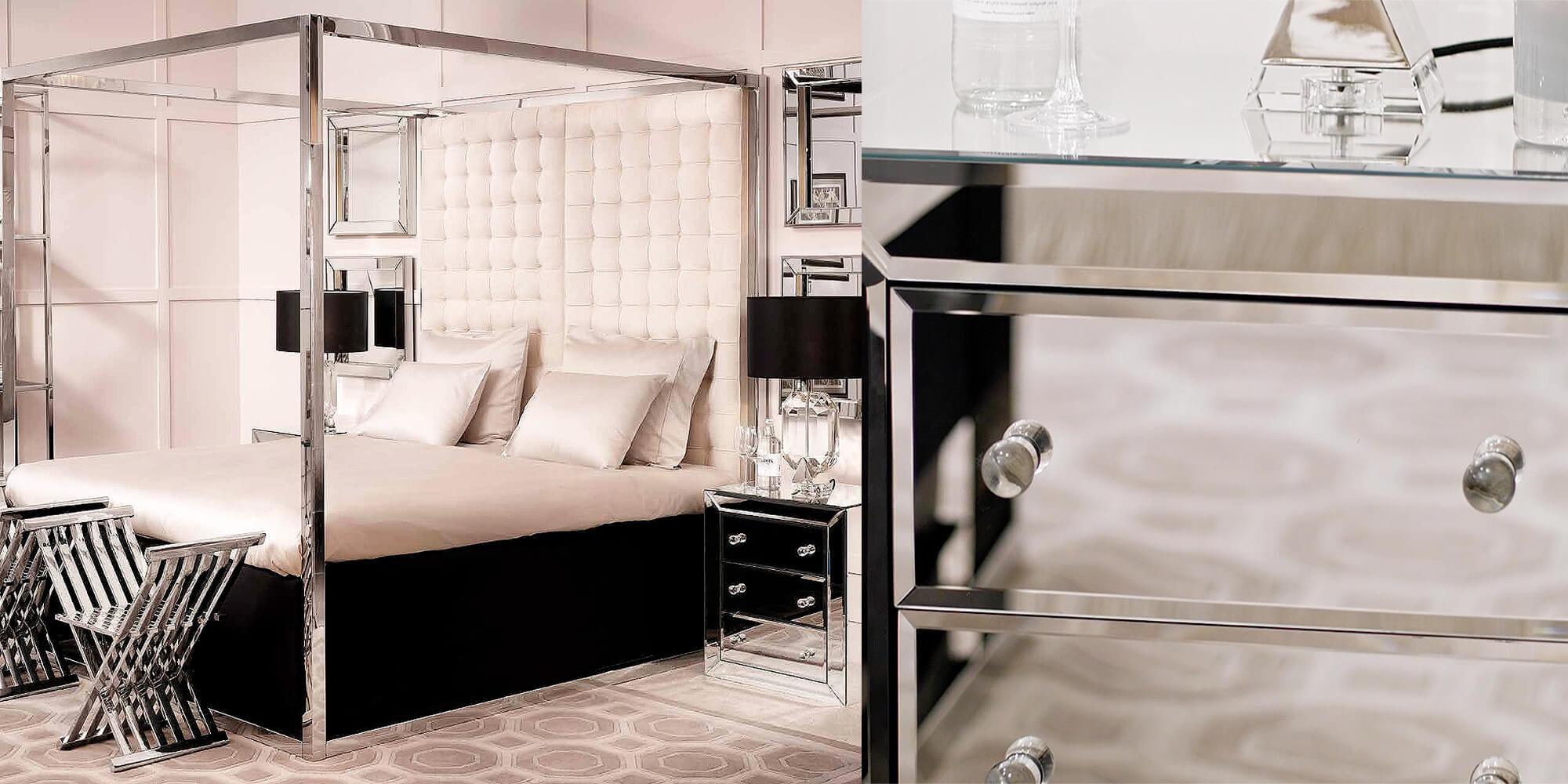 Glamour pur: Edles Schlafzimmer in Nude- und Silbertönen - #InstaShop