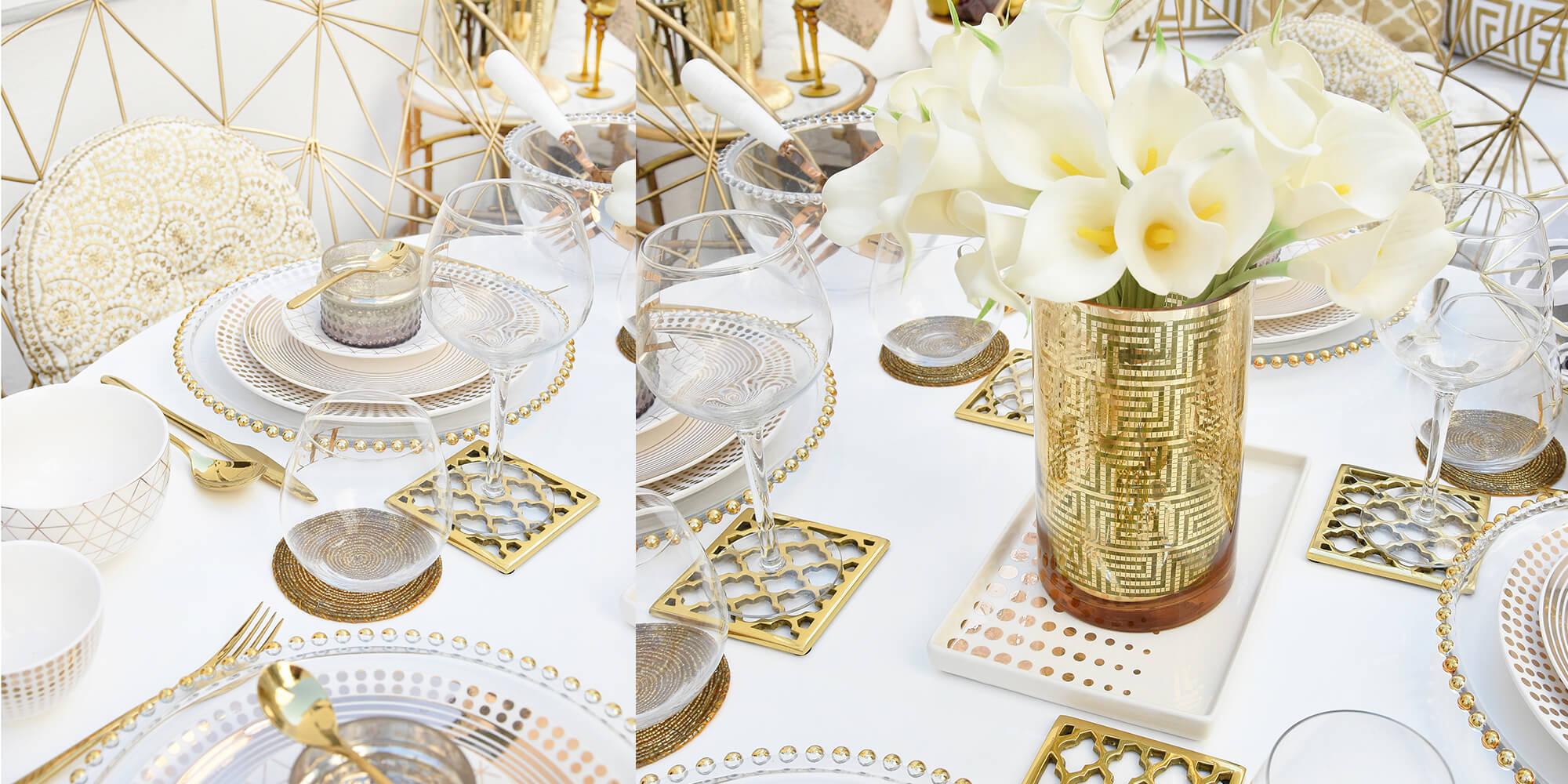 Table Essentials in Weiß & Gold