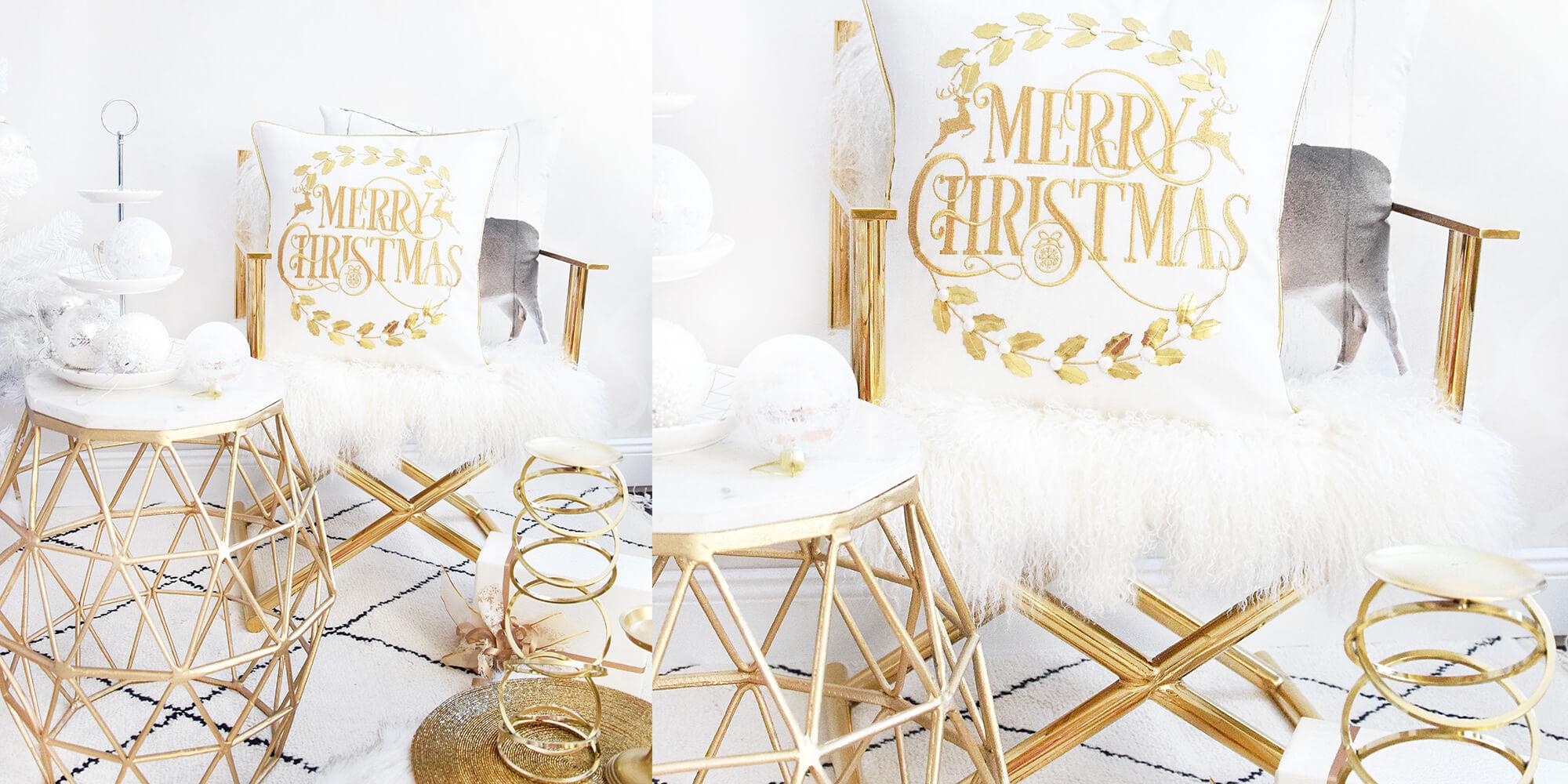 Glamouröser Gold-Chromsessel mit echtem Schaffellbezug