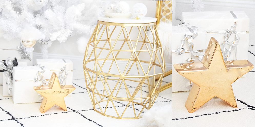 Es weihnachtet: Dekostern aus Keramik in glänzendem Gold